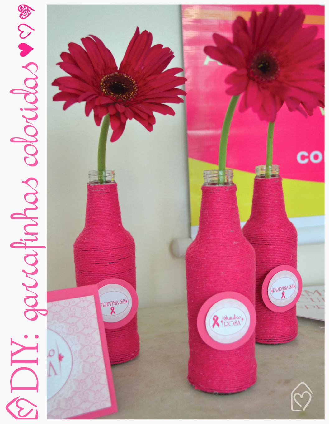 DIY garrafas coloridas que ficam um charme, e são fáceis de fazer.