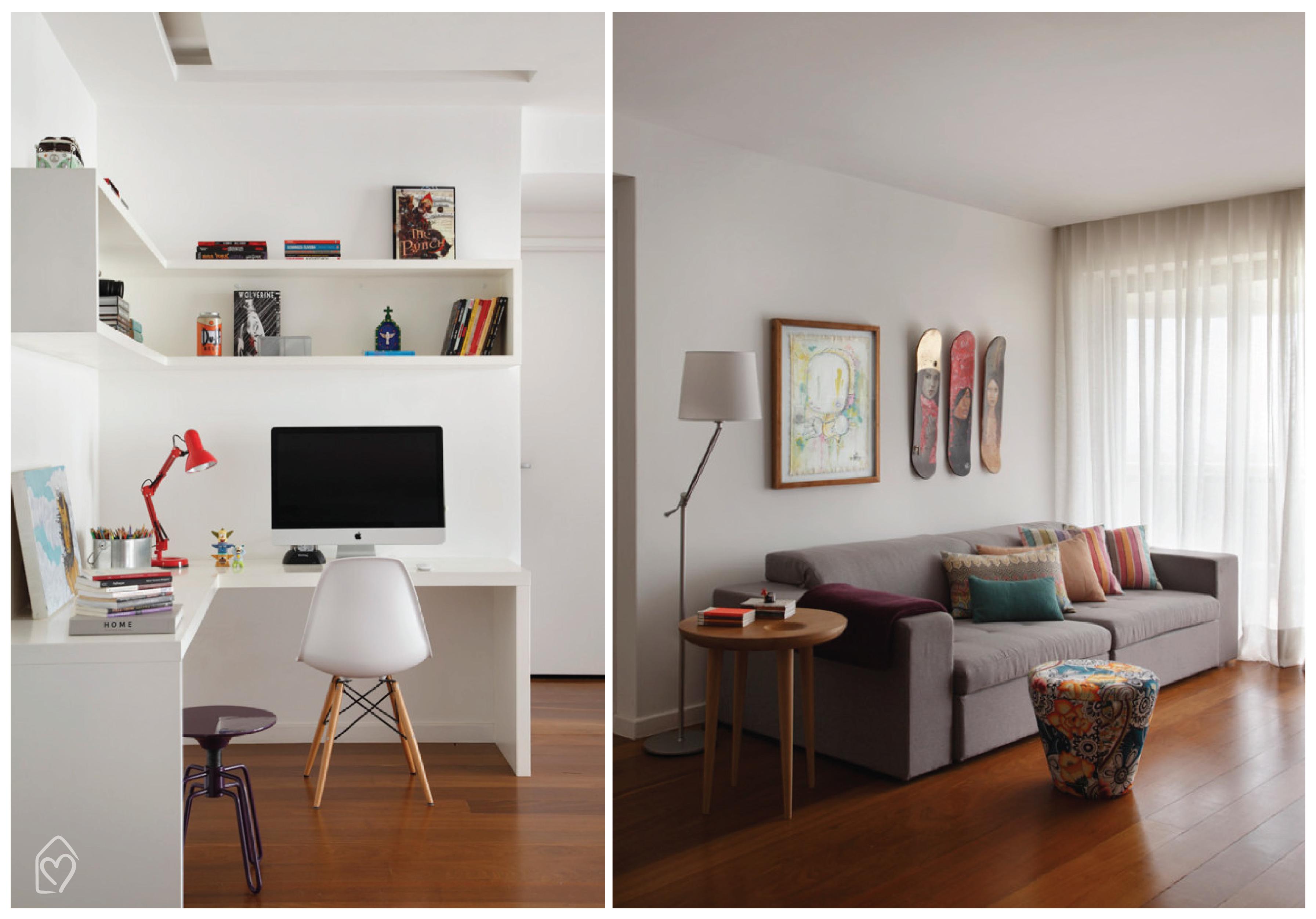 Amigas Tudo integrado: sala cozinha e home office! Casa das Amigas #A12E2A 3585 2504